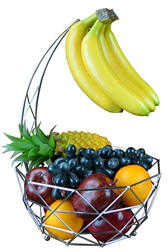 Fruit basket banana hanger, removable banana hanger, home decoration (chrome plated) (Silver Plated Classic Scroll)