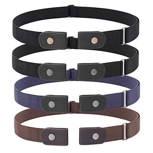 JasGood 4 Stück Schnallenfreier Verstellbarer Gürtel Ohne Schnalle für Damen oder Herren, Unsichtbarer Elastischer Gürtel für Jeans Hosen