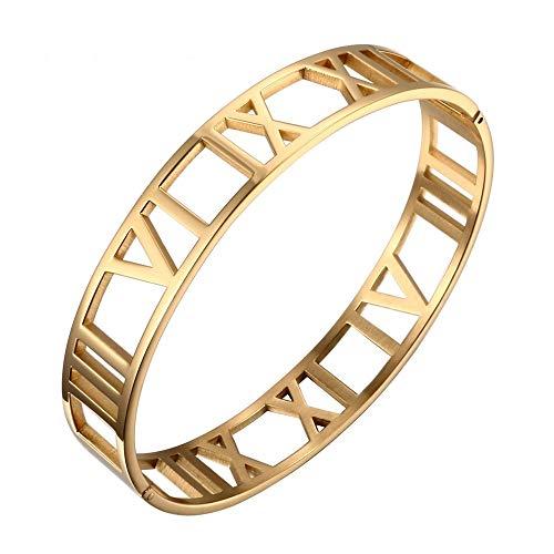 Designer Inspired Titanium Steel Hollow Roman Numerals Wide Cuff Bracelet Unisex ()