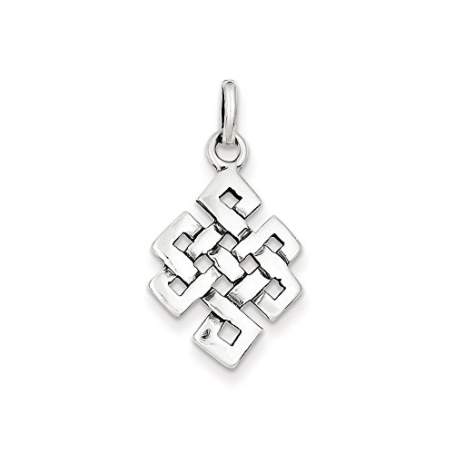 Sterling Silver Antiqued Square Celtic Knot Charm (27 x 16mm)