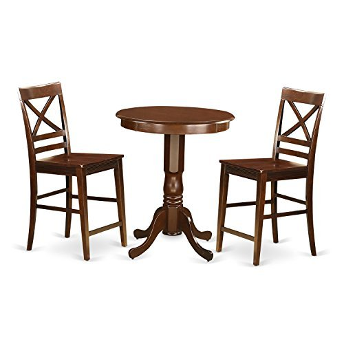 East West Furniture EDQU3-MAH-W 3 Piece Pub Table and 2 Counter Height Dining Chair Set