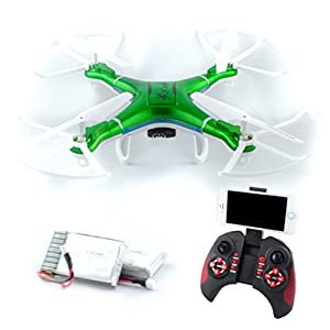 QCopter Drone Quadcopter w/HD FPV Wifi Camera BONUS Drones Battery and Crash Kit Included; Green by QS LLC