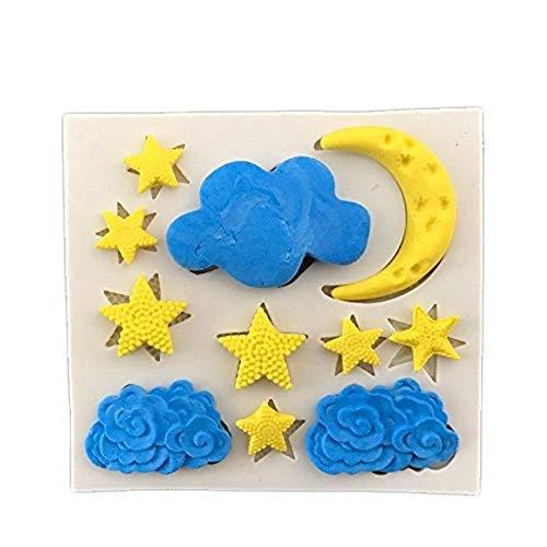 Demana Molde Pastel luna estrellas blanco nubes líquido molde de torta de silicona