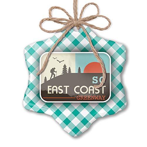 NEONBLOND Christmas Ornament US Hiking Trails East Coast Greenway - South Carolina Pastel Mint Green Plaid