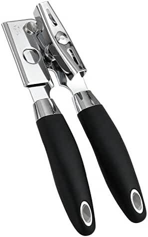 Solula Professional Stainless Steel Manual Can Opener, Open Can In Seconds, Long Handles For Saving Effort, Black