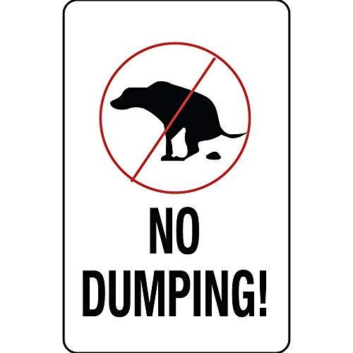 TNND Metal Sign 12x16 inches No Dumping with Dog Symbol Aluminum Metal Sign