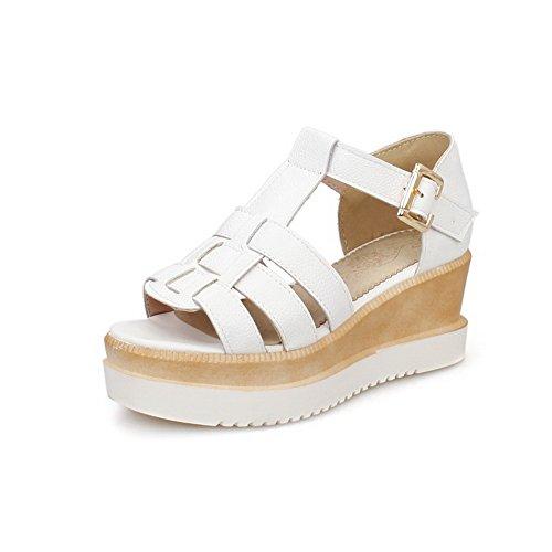 AmoonyFashion Womens Soft Leather Buckle Open Toe Kitten Heels Solid Sandals White wON9j