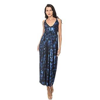 Cocum Carmia Maxi Dress For Women - 12 Uk, Black/blue