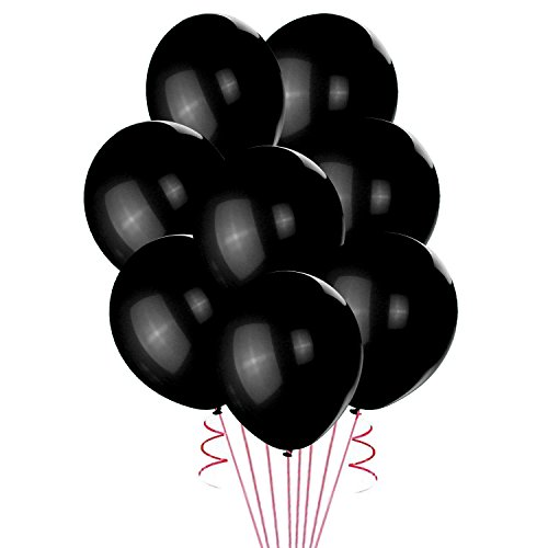 Lokman 12 Inch Black Latex Metallic Balloons 100 Per Unit (Orange Metallic Balloons)