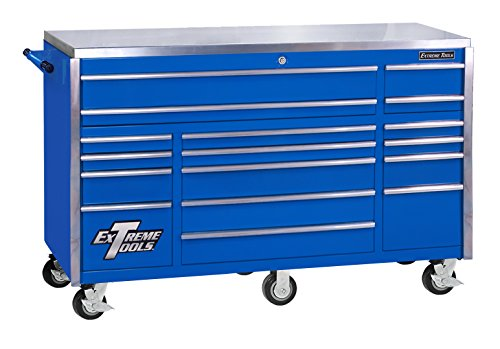 Extreme Tools EX7217RCBL 17-Drawer Triple Bank Roller Cabinet with Ball Bearing Slides, 72-Inch, Blue High Gloss Powder Coat Finish