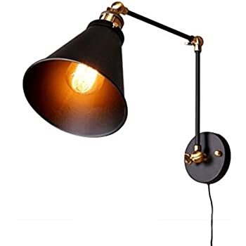 Kiven Swing Arm Wall Lamp Adjustable Wall Sconces Plug In Sconces Wall  Lighting (with