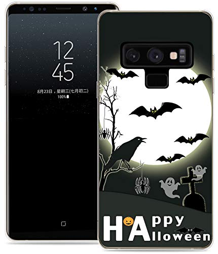 Note 9 Case Halloween Design/IWONE Protective Durable TPU Rubber Fashion Designer Cover Skin Compatible for Samsung Note 9 for Galaxy Note9 + Happy Halloween Quotes Design Bat -