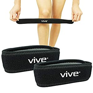 Vive Knee Strap [Pair] - Patella Tendon Band Brace for Runner's, Jumper's Knee - Tendinitis, ACL, Ligament Pain Relief Treatment - Athletic Shock Support Pad - Compression Brace