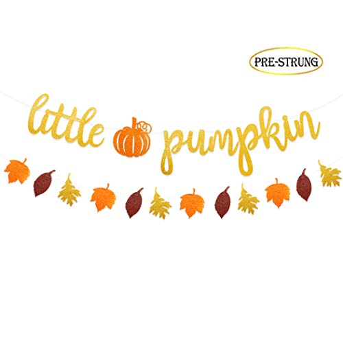 Glitter Little Pumpkin Banner with Pumpkin Fall Leaves for Thanksgiving Fall Theme Baby Shower Kid's Birthday Party Decor -