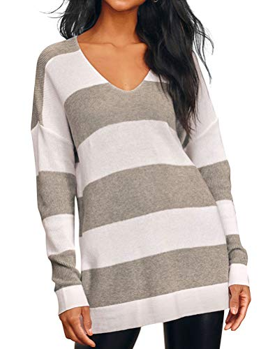 MYMORE Women V Neck Stripes Colorblock Knitted Tops Long Sleeves Splicing Pullover