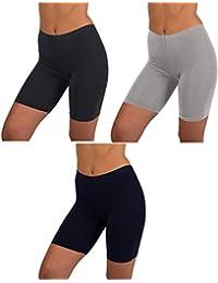 Sexy Basics - Conjunto de 3 Calzoncillos de Calzones para Mujer, para Correr, Yoga, Cortos