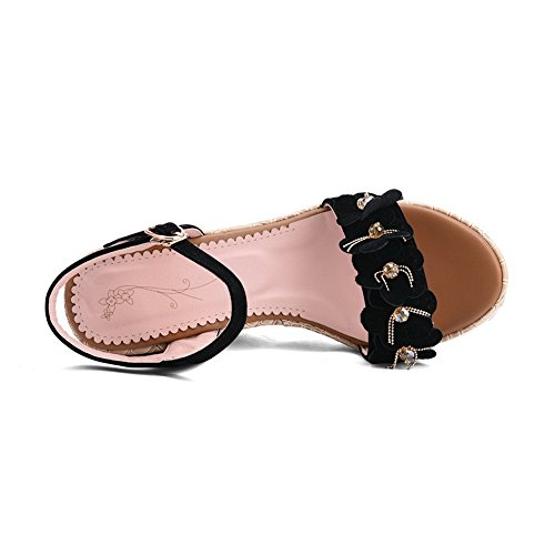 Sandals Embroidered Fashion Womens Black MJS03112 1TO9 Urethane Cold Lining wOHnqv1