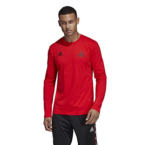 adidas Men's Soccer Tango Graphic Cotton Long Sleeve Jersey Tee (Large, Red)