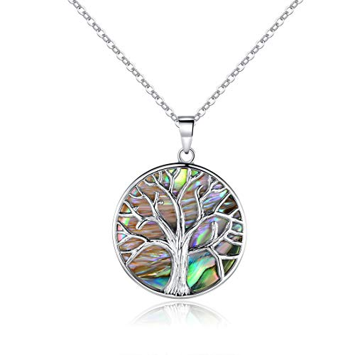 Barzel 18K White Gold Plated Created Abalone Pearl Tree of Life Necklace (Tree Of Life Jewelry)
