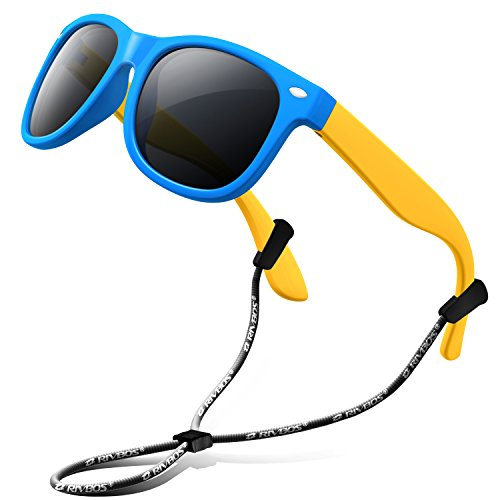 RIVBOS Rubber Kids Polarized Sunglasses with Strap Glasses Shades for Boys Girls Baby and Children Age 3-10 RBK004 (W Blue) (Kids Sunglasses)