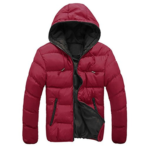 [XUANOU Men Slim Casual Jacket Fresh Color Hooded Winter Thick Coat (XX-large, Red)] (Red Coat Army Costume)