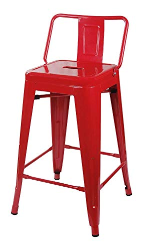 GIA 24-Inch Low Back Stool with Metal Seat, Red, 2-Pack (Red Stools Bar)