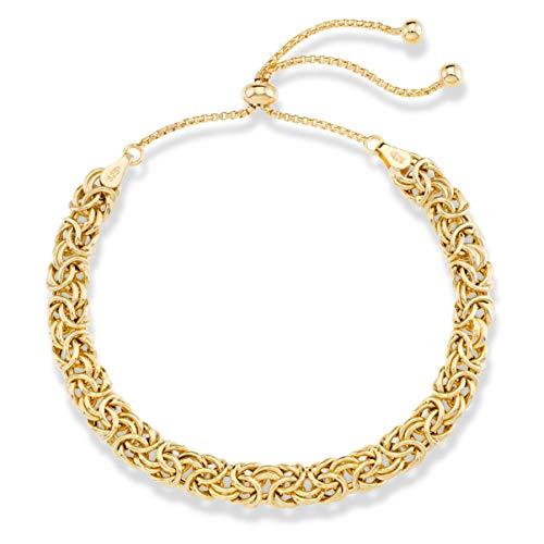 MiaBella 18K Gold Over Sterling Silver Byzantine Adjustable Link Chain Bolo Bracelet for Women (Ring 18k Italian)