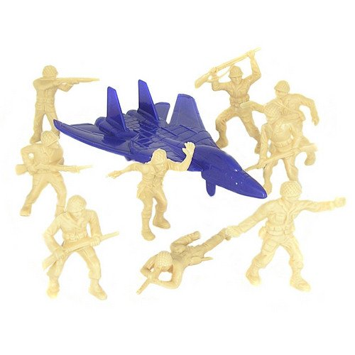 Tan Plastic Army Men Playset: 53 Piece Bucket 2-1/2 inch WWII Pineapple Helment Soldier Figures, Jet, Play Mat - Made in USA ! (Best Marine Sniper Of All Time)