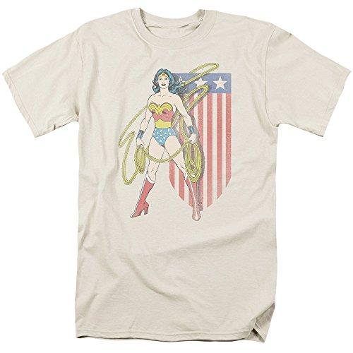 - Trevco Men's Wonder Woman Short Sleeve T-Shirt, Banner Cream, X-Large