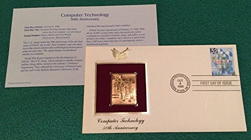 Computer Technology 50th Anniversary First Day of Issue Stamp with 22K Gold Replica ()
