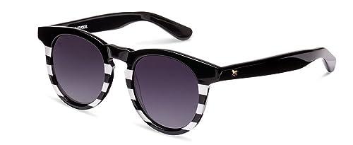 Wolfnoir Hathi Ace Black Stripes, Gafas de Sol Unisex, Blanco / Negro, 45