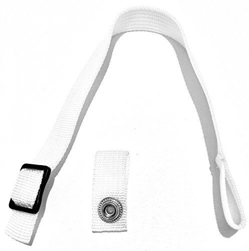 Hockey Helmet Chin Strap with Single Snap (White) ()