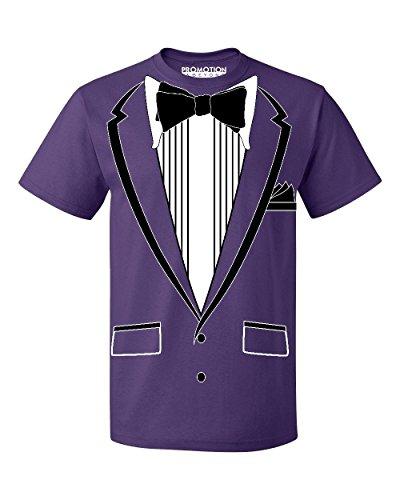 Promotion & Beyond Tuxedo (Black) with Pocket Square Ceremony Men's T-Shirt, L, Purple