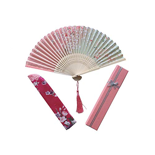 dolce-vita Hand Held Folding Fans - with a Fabric Sleeve for Protection for Gifts,Chinese/Japanese Vintage Retro Style Handcrafted Fans and Patterns (Pink with Gift Box)