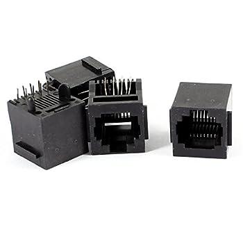 eDealMax 4 Pcs PCB Mount RJ45 8P8C réseau modulaire connecteur Socket Black Jacks