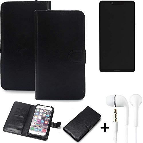 K-S-Trade Wallet Case Handy Hülle Kompatibel Mit Sharp Aquos D10 Schutz Hülle Smartphone Flip Cover Flipstyle Tasche…