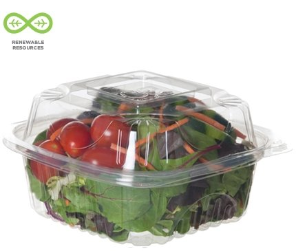 Bulk Compostable Clear Clamshells, 6'' PLA Take Out Containers, Renewable: Eco-Products EP-LC6 (720 Disposable Containers)