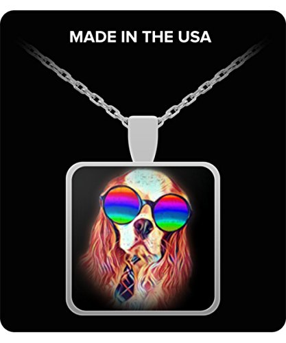 Cavalier King Charles Spaniel Necklace Charm Pendant Neon Dog Sunglasses - Perfect Gift for Valentine's Day, Mother's Day, Christmas, Birthdays, Anniv - Gold Spaniel Charm