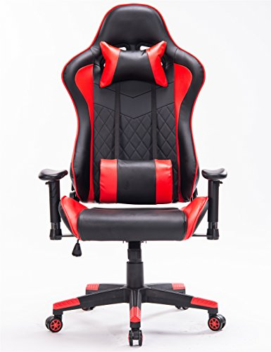 Ergonomic Gaming Chair PC Game Computer Office Chair with Footrest (Red/Black,1) by Top Gamer