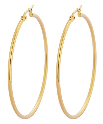 Edforce 18k Gold Plated Stainless Steel Rounded Hoops Earrings (50mm Diameter)