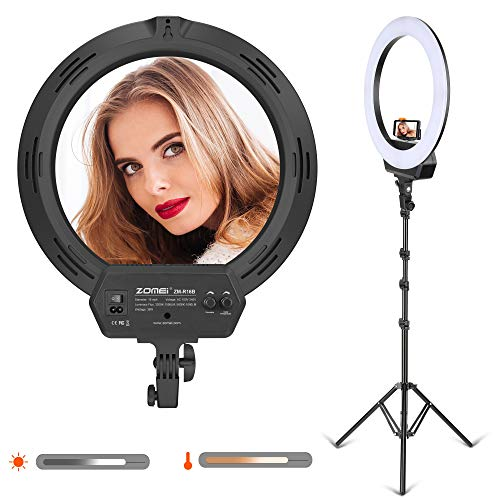 (LED Color Temperature Ring Light, 16-inch Outer Dimmable LED Video Lighting kit with Stand Phone Adapter Carrying Bag for YouTube Vlog Makeup Video Shooting Salon Portrait Selfie)
