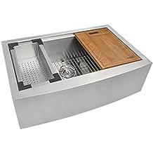 "Ruvati RVH9100 Apron Front 16 Gauge 30"" Kitchen Single Bowl Sink, Stainless Steel"