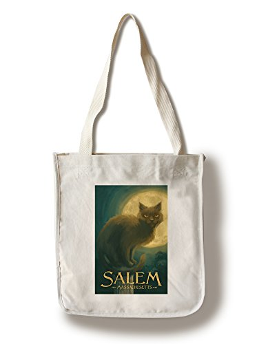 Salem, Massachusetts - Black Cat - Halloween Oil Painting (100% Cotton Tote Bag - - Massachusetts Shopping Salem
