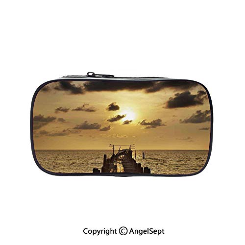 (Big Capacity Pencil Case 1L Storage,Old Wooden Deck Pond Over The Sea Horizon Sunset Time of The Day Peaceful Scene Yellow Grey 5.1inches,Desk Pen Pencil Marker Stationery Organizer with Zipper for S)