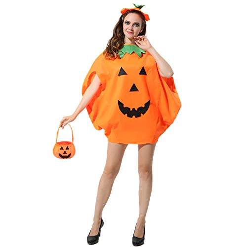 3PCS Adult Pumpkin Costume Halloween Pumpkin Cosplay Party Clothes with A Hat,A Bag Orange