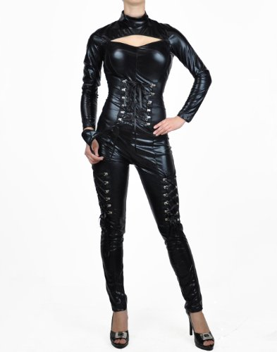 Plus Size Catwoman Costumes (NawtyFox Black Metallic Fetish Catsuit Bodysuit Full Body Superhero Costume)