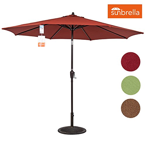 Sundale Outdoor 9 Ft Sunbrella Fabric Patio Garden Market Umbrella, Push Button Tilt and Crank (Terracotta) (Umbrellas Patio Fabric Sunbrella)