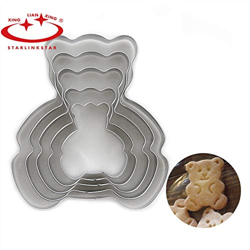 Starlinkstar 5 Pc Cartoon Xiong-shaped Cake Mold Stainless Steel Cookie cutters Bear Chocolate Baking Mold