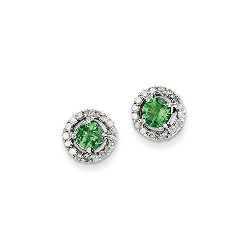 Sterling Silver Rhodium Diamond & Tsavorite Garnet Circle Post Earrings by Jewels By Lux