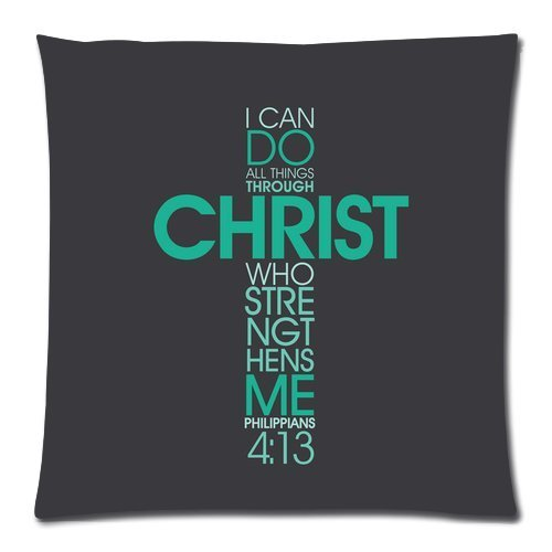 Bible Verse – I can do all things through Christ who gives me strength. Phillippians 4:13 pattern for Zippered Pillow Case 20″x20″ Inches(two side)